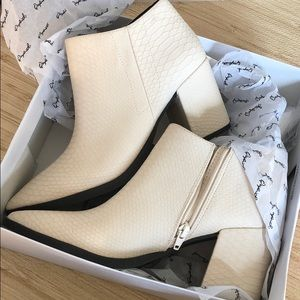 NEW Cream snakeskin wedge boots booties heel